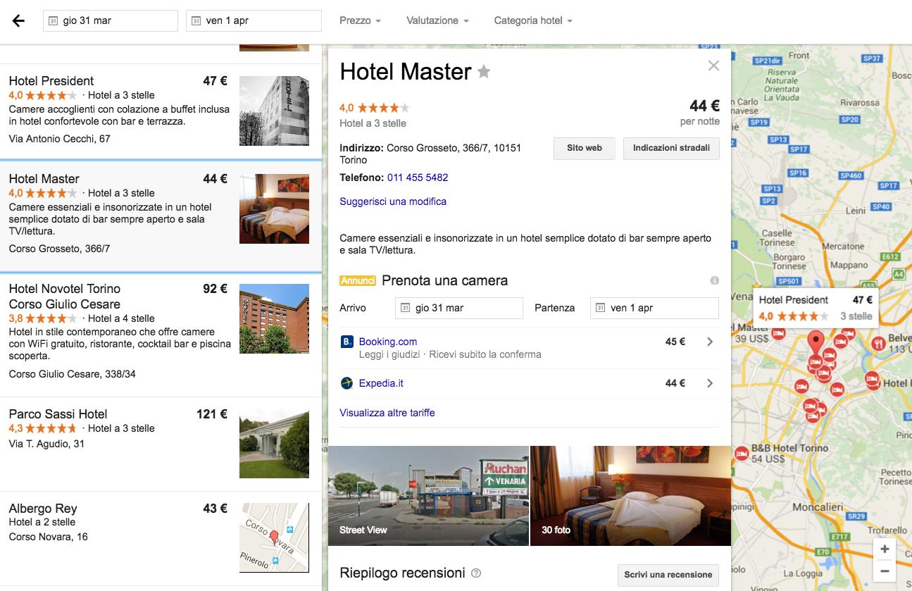 scheda google hotel ad