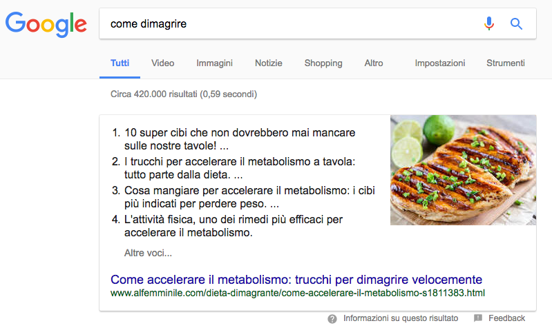 featured snippet di elenco