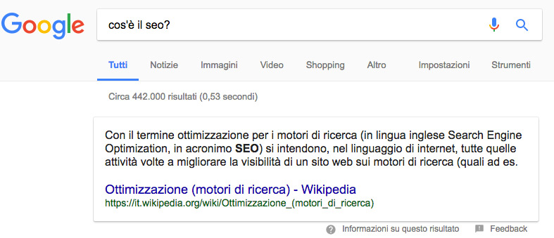 featured snippet di paragrafo