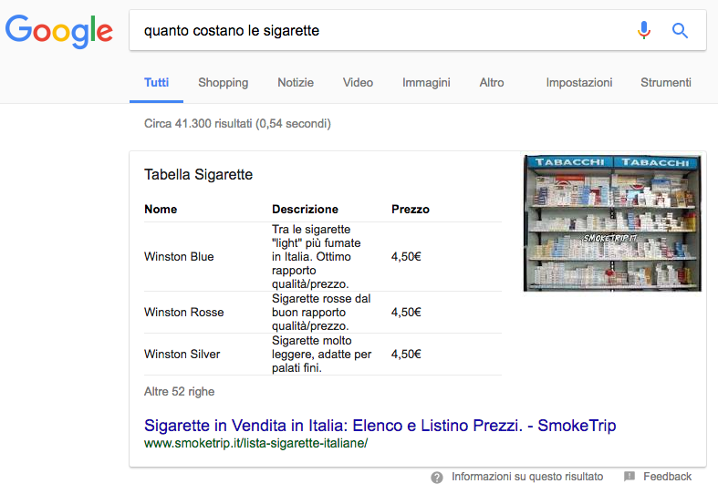 featured snippet di tabella