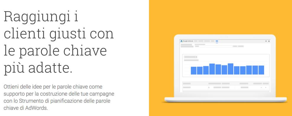 strumentGoogle Adwords pianificazione parole chiave