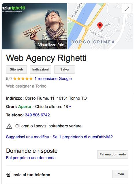 Posizionamento con la scheda google My Business